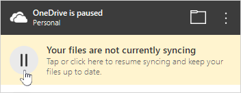 ปุ่มหยุดชั่วคราวของ OneDrive