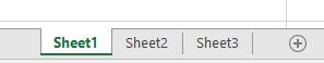 แท็บแผ่นงาน Excel แสดงไว้ที่ด้านล่างของบานหน้าต่าง Excel