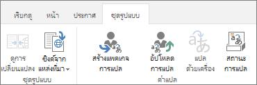 สกรีนช็อตของแท็บชุดรูปแบบจากไซต์เป้าหมาย แท็บจะมีกลุ่มสองกลุ่ม ชุดรูปแบบ และการแปล