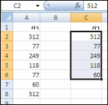 ค่าเดิมในคอลัมน์ A และค่าที่ไม่ซ้ำกันจากคอลัมน์ A ที่สร้างขึ้นในคอลัมน์ C
