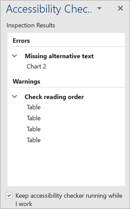 ตรวจสอบการช่วยสำหรับการเข้าถึงใน Word