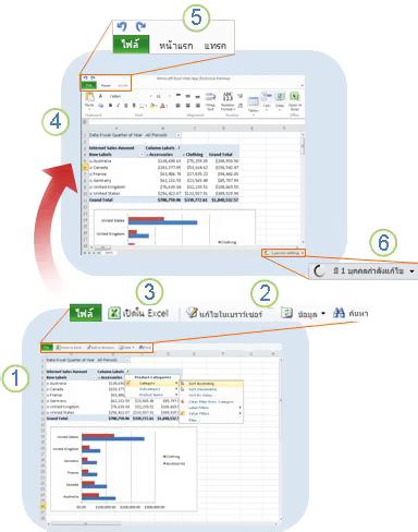 ภาพรวมโดยทั่วไปของ Excel Web App