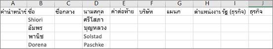 ตัวอย่างของไฟล์.csv Outlook ที่เปิดใน Excel