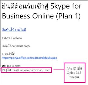 ตัวอย่างของอีเมลต้อนรับที่คุณได้รับหลังจากที่คุณลงทะเบียนสำหรับ Skype for Business Online ซึ่งมี ID ผู้ใช้ Office 365 ของคุณ