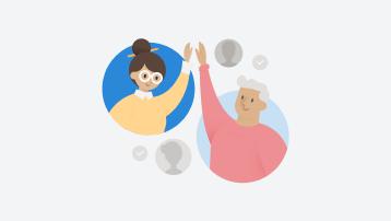 ภาพวาดของคนสองคนที่โบกมือให้กันและกัน