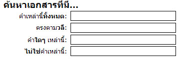 กล่องข้อความซึ่งคุณสามารถพิมพ์คำสำคัญสำหรับการค้นหาเอกสารที่มีคำทั้งหมด คำตรงกัน คำใดคำหนึ่ง หรือไม่มีคำที่ระบุได้