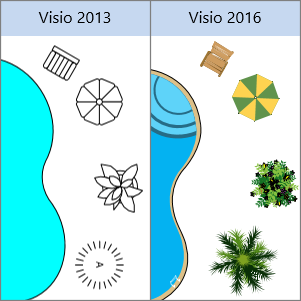 รูปร่างการออกแบบสถานที่ใน Visio 2013, รูปร่างการออกแบบสถานที่ใน Visio 2016