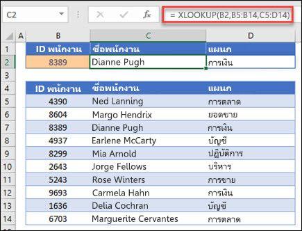 ตัวอย่างของฟังก์ชัน XLOOKUP ที่ใช้เพื่อส่งกลับชื่อพนักงานและแผนกที่ยึดตาม IDt ของพนักงาน สูตรคือ: = XLOOKUP (B2, B5: B14, C5: D14, 0, 1)