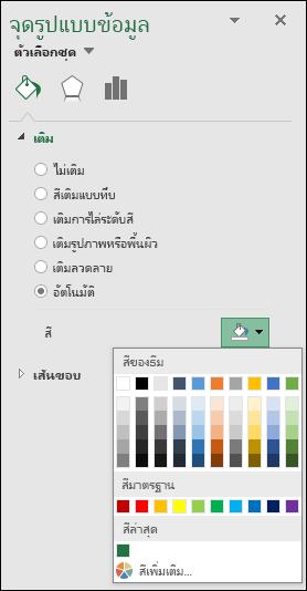 ตัวเลือกสีของแผนภูมิแผนที่ Excel สำหรับแผนภูมิ category