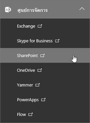 รายการศูนย์การจัดการสำหรับ Office 365 รวมถึง SharePoint