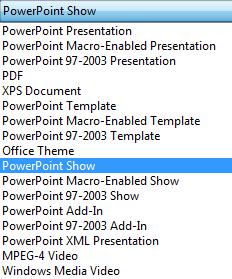 บันทึกงานนำเสนอของคุณเป็น PowerPoint Show