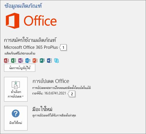 สกรีนช็อตของเพจ บัญชี ที่แสดงชื่อผลิตภัณฑ์ Office และหมายเลขเวอร์ชันเต็ม