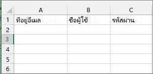 ส่วนหัวของเซลล์ในไฟล์การโยกย้าย Excel