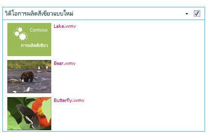 ตัวอย่างของ Web Part สำหรับแบบสอบถามเนื้อหา