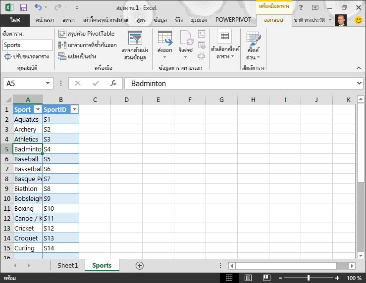 ตั้งชื่อตารางใน Excel