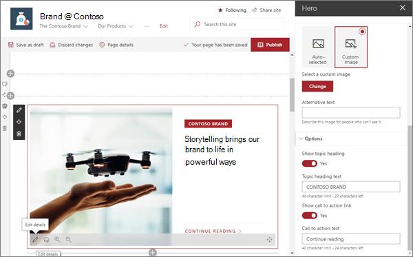 Web part สำหรับฮีโร่ตัวอย่างในไซต์แบรนด์ที่ทันสมัยใน SharePoint Online
