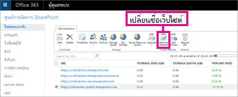 ในศูนย์การจัดการ SharePoint ให้เลือก เปลี่ยนชื่อเว็บไซต์