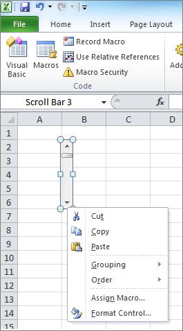 ตัวควบคุมการจัดรูปแบบบาร์ scoll