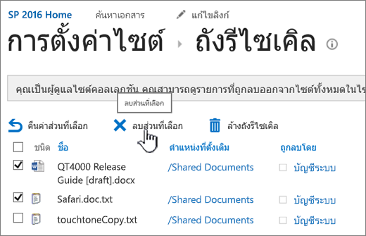 ปุ่มลบหน้าถังรีไซ 2016 SharePoint ถูกเน้น