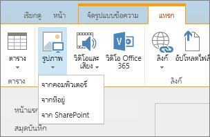 สกรีนช็อตของ Ribbon ของ SharePoint Online ให้เลือกแท็บแทรก แล้วเลือกรูปภาพเพื่อเลือกว่าจะอัปโหลดไฟล์จากคอมพิวเตอร์ ที่อยู่เว็บ หรือตำแหน่งที่ตั้ง SharePoint ของคุณ