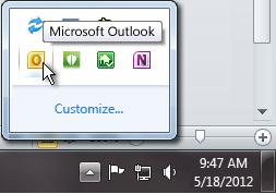 พื้นที่แจ้งให้ทราบที่ขยายออกเพื่อแสดงไอคอน Outlook
