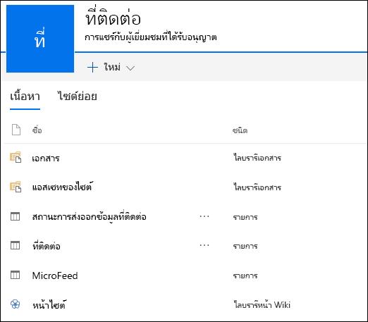 หน้าไซต์ย่อย SharePoint ประกอบด้วยรายการจาก Access Web App ที่ส่งออก
