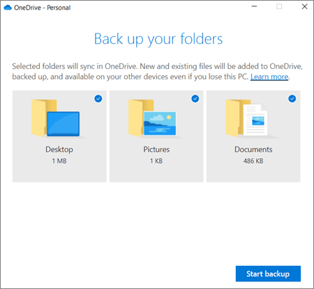 สกรีนช็อตของกล่องโต้ตอบตั้งค่าการป้องกันโฟลเดอร์ที่สำคัญใน OneDrive