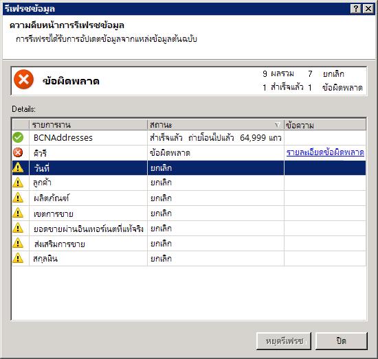 ข้อความแสดงสถานะการรีเฟรชข้อมูลใน PowerPivot