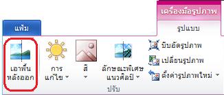 ปุ่มเอาพื้นหลังบนแท็บรูปแบบของเครื่องมือรูปภาพหรือ ribbon ใน Office 2010