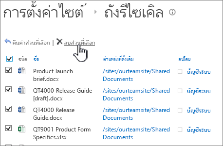 SharePoint 2013 2nd ระดับถังรีไซกับรายการทั้งหมดที่เลือก และลบปุ่มถูกเน้น