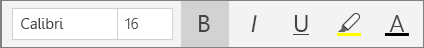 ปุ่มจัดรูปแบบข้อความบน Ribbon เมนูหน้าแรกใน OneNote สำหรับ Windows 10