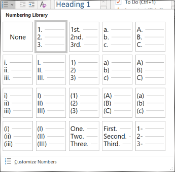 สกรีนช็อตของตัวเลือกรายการลำดับเลขในเมนู หน้าแรก