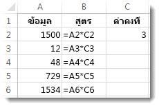 ข้อมูลในคอลัมน์ A สูตรในคอลัมน์ B และตัวเลข 3 ในเซลล์ C2