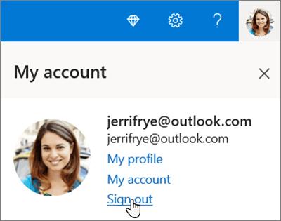 การแสดงผลหลังจากเลือกบัญชีผู้ใช้ของฉันในพอร์ทัล OneDrive โดยที่มีการเน้นออกจากระบบ
