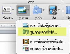 บนแท็บ หน้าแรก ของ Ribbon ภายใต้ แทรก ให้คลิก รูปภาพ > รูปภาพจากไฟล์