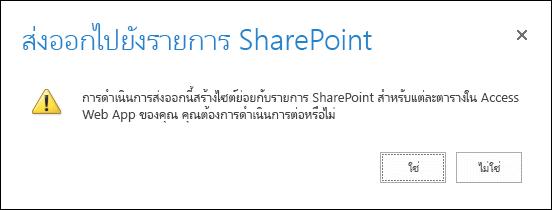 สกรีนช็อตกล่องโต้ตอบการยืนยัน การคลิก ใช่ จะส่งออกข้อมูลไปยังรายการ SharePoint และการคลิก ไม่ จะยกเลิกการส่งออก