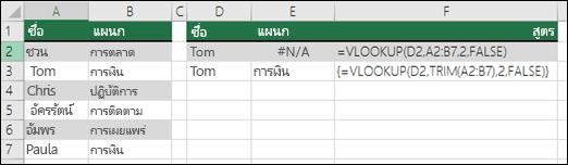 การใช้ VLOOKUP กับตัดแต่งในสูตรอาร์เรย์เพื่อนำช่องว่างนำหน้า/ต่อท้ายออก  สูตรในเซลล์ E3 คือ {=VLOOKUP(D2,TRIM(A2:B7),2,FALSE)} และจำเป็นต้องใส่ด้วย CTRL+SHIFT+ENTER