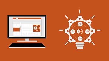 หน้าชื่อเรื่องกราฟิกข้อมูลของ PowerPoint - หน้าจอที่มีเอกสาร PowerPoint และรูปภาพหลอดไฟ