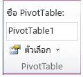 กลุ่ม PivotTable บนแท็บ ตัวเลือก ภายใต้ เครื่องมือ PivotTable