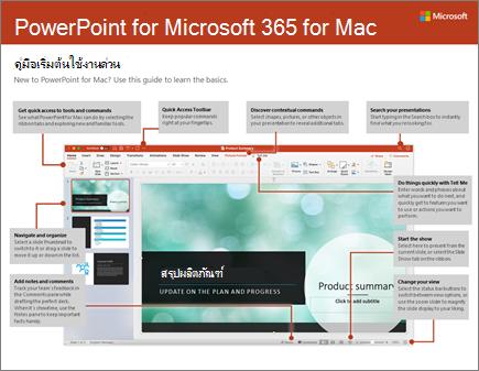คู่มือเริ่มต้นใช้งานด่วนสำหรับ PowerPoint 2016 for Mac