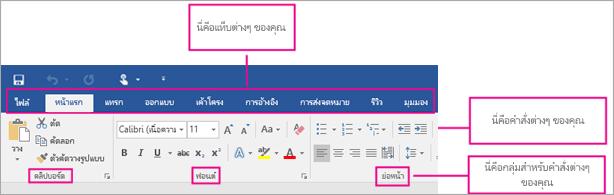รูปภาพที่แสดงส่วนต่าง ๆ ของ ribbon: แท็บ คำสั่ง กลุ่มของคำสั่ง