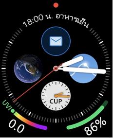 หน้าจอ Apple Watch ที่มีไอคอนอีเมล
