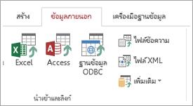 แท็บข้อมูลภายนอกของ access