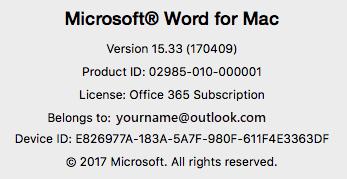 สกรีนช็อตที่แสดงเพจ เกี่ยวกับ Word บน Word for Mac