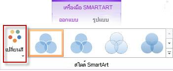 ตัวเลือก เปลี่ยนสี ในกลุ่ม สไตล์ SmartArt
