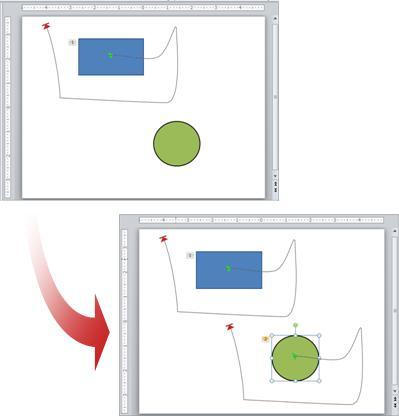 ตัวอย่างจะแสดงภาพเคลื่อนไหวที่คัดลอกจากวัตถุหนึ่งไปยังอีกวัตถุหนึ่ง