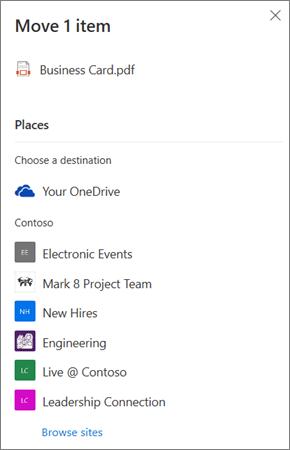 สกรีนช็อตของการเลือกปลายทางเมื่อย้ายไฟล์จาก OneDrive ไปยัง SharePoint