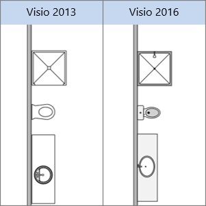 รูปร่างการออกแบบชั้นอาคารใน Visio 2013, รูปร่างการออกแบบชั้นอาคารใน Visio 2016