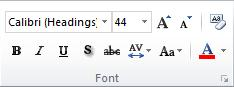 กลุ่ม ฟอนต์ บนแท็บ หน้าแรก ใน Ribbon ของ PowerPoint 2010