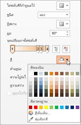 การเปลี่ยนสีของแต่ละจุดเปลี่ยนการไล่ระดับสี